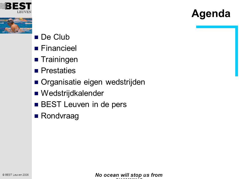 © BEST Leuven 2006 No ocean will stop us from SWIMMING Agenda  De Club  Financieel  Trainingen  Prestaties  Organisatie eigen wedstrijden  Wedstrijdkalender  BEST Leuven in de pers  Rondvraag