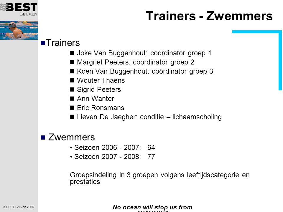 © BEST Leuven 2006 No ocean will stop us from SWIMMING Trainers - Zwemmers  Trainers Joke Van Buggenhout: coördinator groep 1 Margriet Peeters: coördinator groep 2 Koen Van Buggenhout: coördinator groep 3 Wouter Thaens Sigrid Peeters Ann Wanter Eric Ronsmans Lieven De Jaegher: conditie – lichaamscholing  Zwemmers • Seizoen 2006 - 2007: 64 • Seizoen 2007 - 2008: 77 Groepsindeling in 3 groepen volgens leeftijdscategorie en prestaties