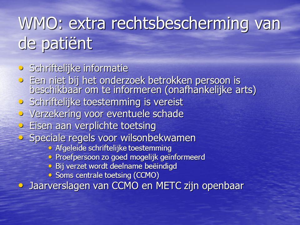 WMO: extra rechtsbescherming van de patiënt • Schriftelijke informatie • Een niet bij het onderzoek betrokken persoon is beschikbaar om te informeren