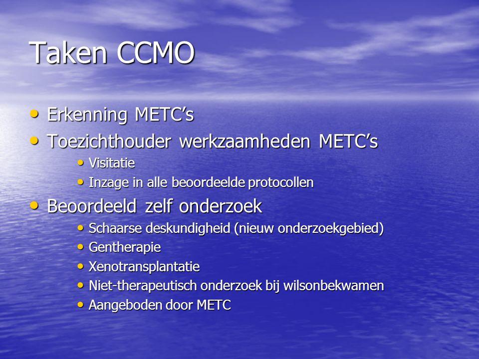 Taken CCMO • Erkenning METC's • Toezichthouder werkzaamheden METC's • Visitatie • Inzage in alle beoordeelde protocollen • Beoordeeld zelf onderzoek •