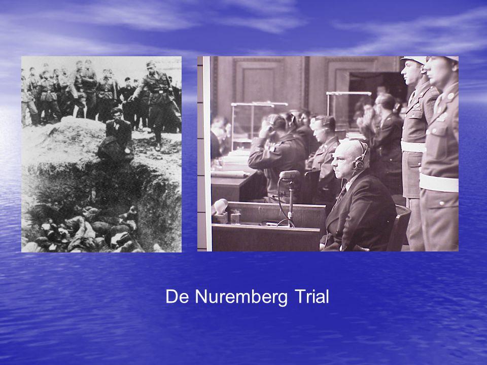 • 23 artsen en wetenschappers stonden terecht wegens moord op gevangenen in concentratiekampen die werden gebruikt als proefpersonen • 15 veroordeeld, 8 doodstraf, 7 levenslang