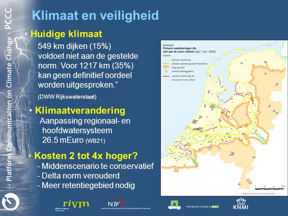 Klimaat en veiligheid • • Huidige klimaat 549 km dijken (15%) voldoet niet aan de gestelde norm.