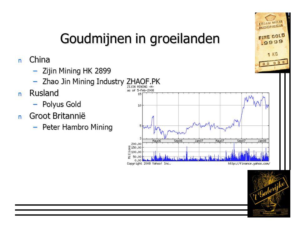 Gemengde mijnbedrijven n Oxiana –Australisch –Goud, koper en uranium –Toronto OXR.AX n Newmont Mining –Goud en koper –NYSE NEM n Algemeen: nog grotere volatiliteit maar ook grotere upside