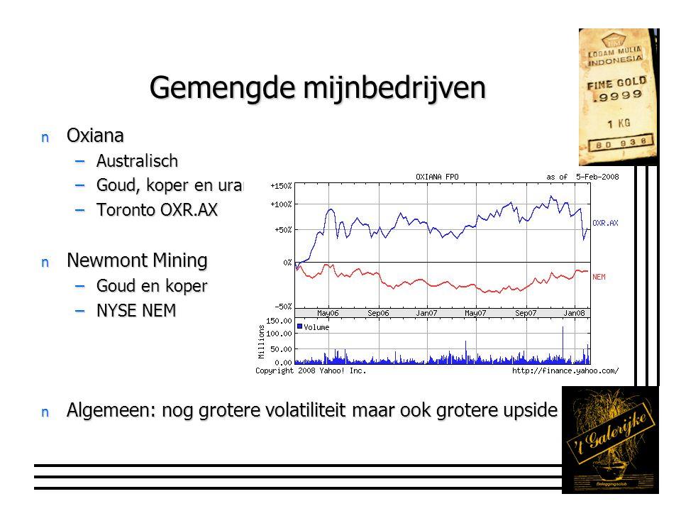 Newmont Mining n Produktie: 6,5 mln oune gold en 330 mln pond koper –Moeilijk op peil te houden.