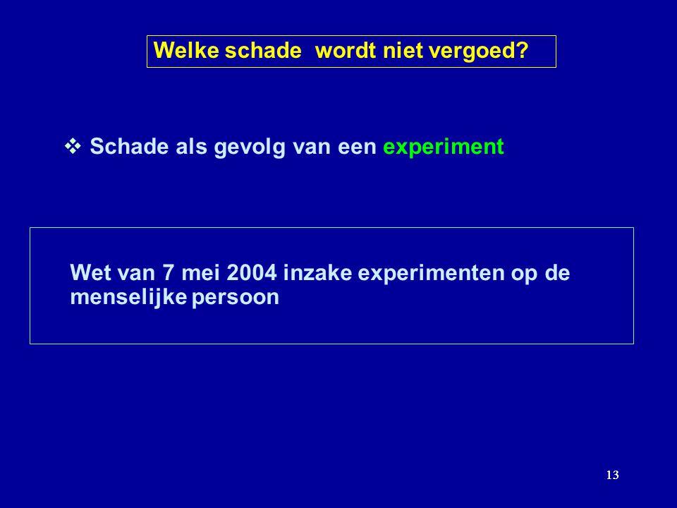 13  Schade als gevolg van een experiment Wet van 7 mei 2004 inzake experimenten op de menselijke persoon Welke schade wordt niet vergoed