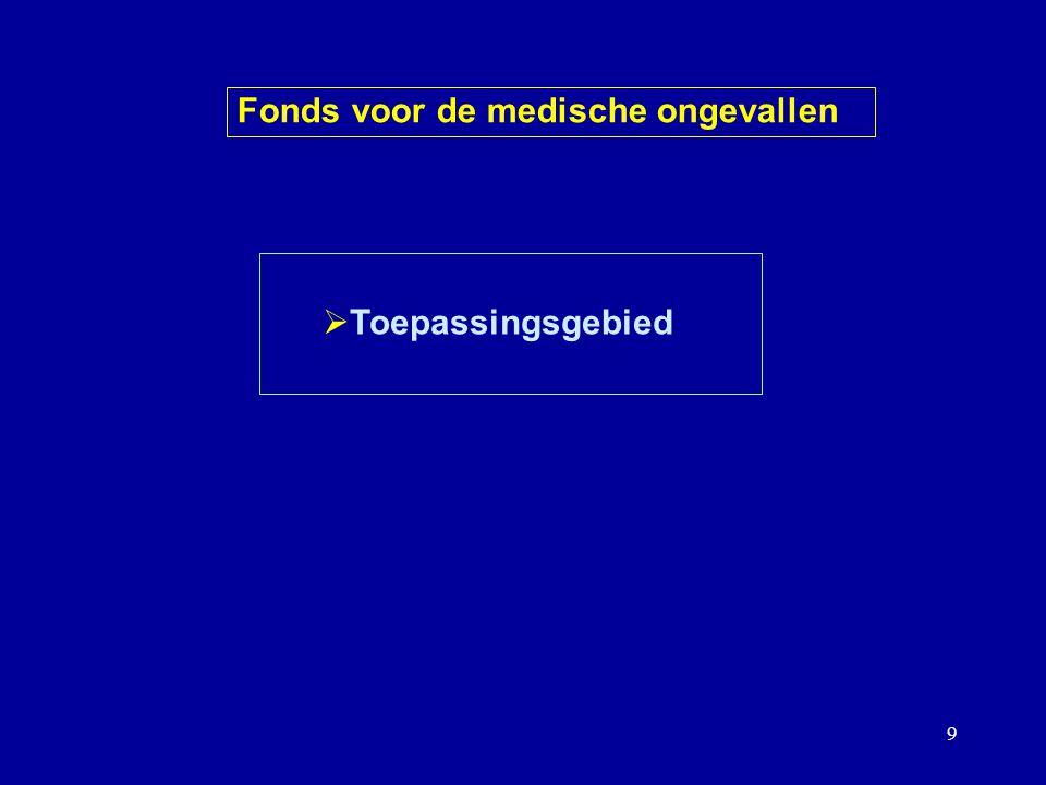 9  Toepassingsgebied Fonds voor de medische ongevallen