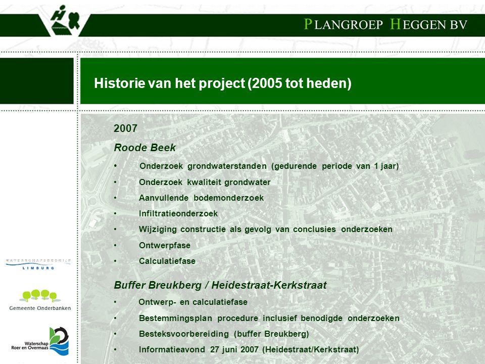 Historie van het project (2005 tot heden) 2007 Roode Beek • Onderzoek grondwaterstanden (gedurende periode van 1 jaar) • Onderzoek kwaliteit grondwate