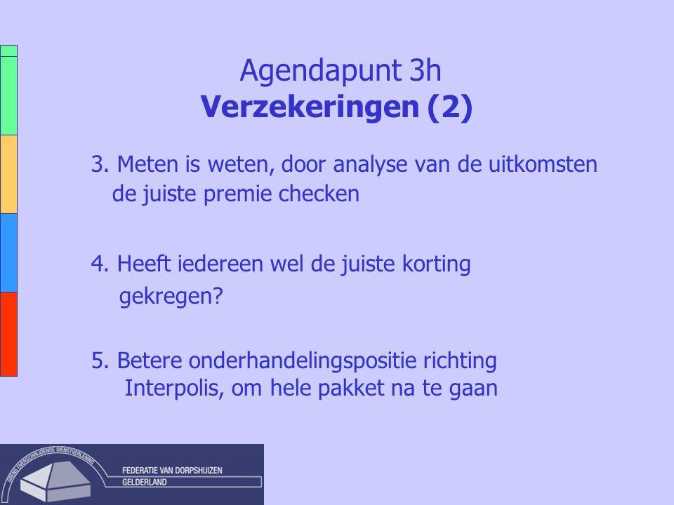 Agendapunt 3h Verzekeringen (2) 3. Meten is weten, door analyse van de uitkomsten de juiste premie checken 4. Heeft iedereen wel de juiste korting gek