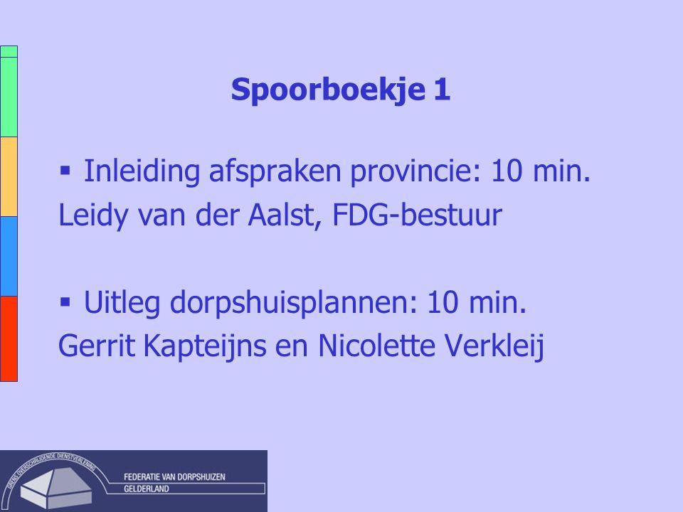 Spoorboekje 1  Inleiding afspraken provincie: 10 min. Leidy van der Aalst, FDG-bestuur  Uitleg dorpshuisplannen: 10 min. Gerrit Kapteijns en Nicolet