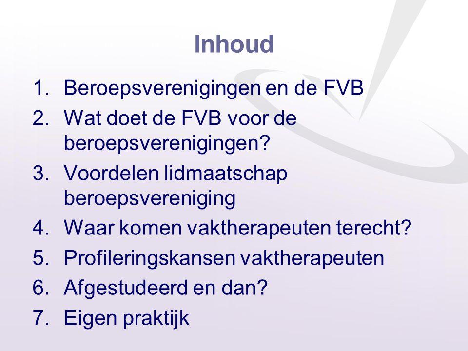 Inhoud 1.Beroepsverenigingen en de FVB 2.Wat doet de FVB voor de beroepsverenigingen? 3.Voordelen lidmaatschap beroepsvereniging 4.Waar komen vakthera