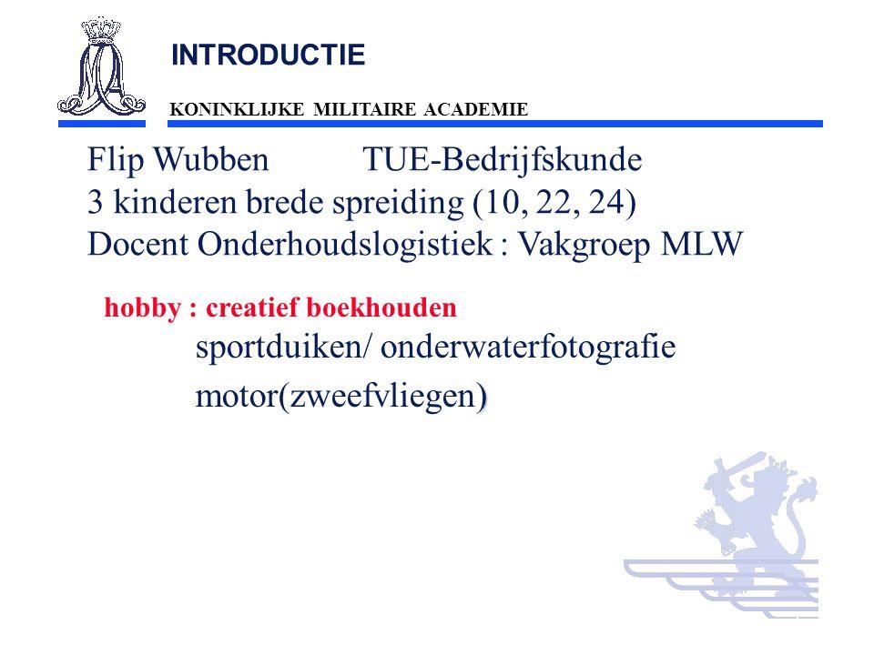 KONINKLIJKE MILITAIRE ACADEMIE Inleiding Technische wetenschappen : mobiliteit2 INTRODUCTIE Flip Wubben TUE-Bedrijfskunde 3 kinderen brede spreiding (