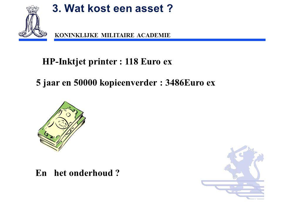 KONINKLIJKE MILITAIRE ACADEMIE Inleiding Technische wetenschappen : mobiliteit25 3. Wat kost een asset ? HP-Inktjet printer : 118 Euro ex 5 jaar en 50