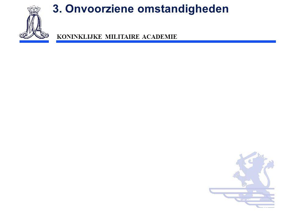 KONINKLIJKE MILITAIRE ACADEMIE Inleiding Technische wetenschappen : mobiliteit40 3. Onvoorziene omstandigheden
