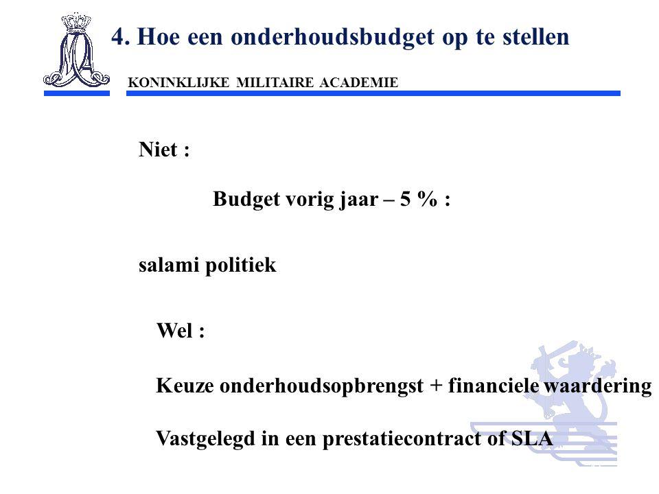 KONINKLIJKE MILITAIRE ACADEMIE Inleiding Technische wetenschappen : mobiliteit41 4. Hoe een onderhoudsbudget op te stellen Niet : Budget vorig jaar –