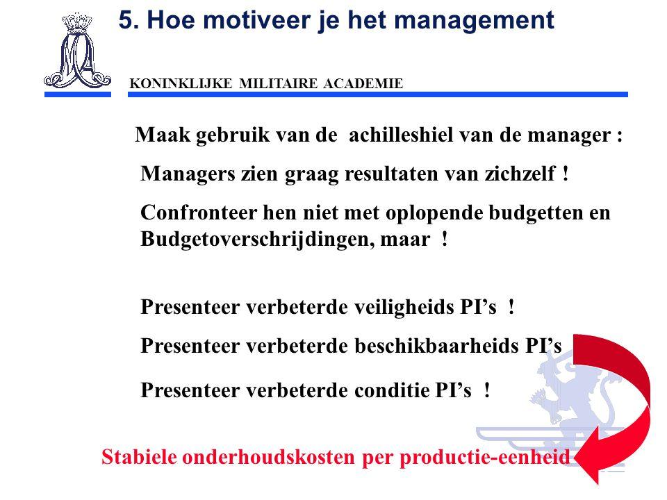 KONINKLIJKE MILITAIRE ACADEMIE Inleiding Technische wetenschappen : mobiliteit55 5. Hoe motiveer je het management Maak gebruik van de achilleshiel va