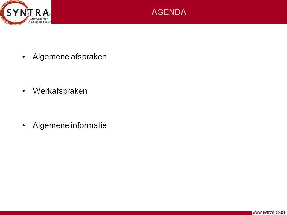 www.syntra-ab.be WERKAFSPRAKEN Lokalen en didactisch materiaal •Uw lokaal staat vermeld op lesmapje.