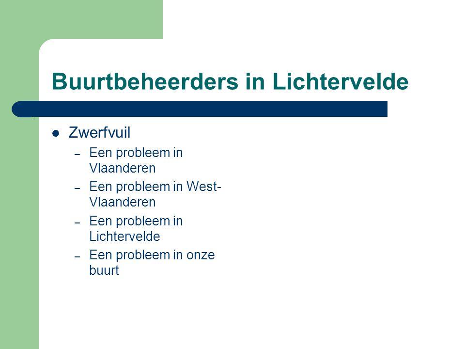 Buurtbeheerders in Lichtervelde  Zwerfvuil – Een probleem in Vlaanderen – Een probleem in West- Vlaanderen – Een probleem in Lichtervelde – Een probl