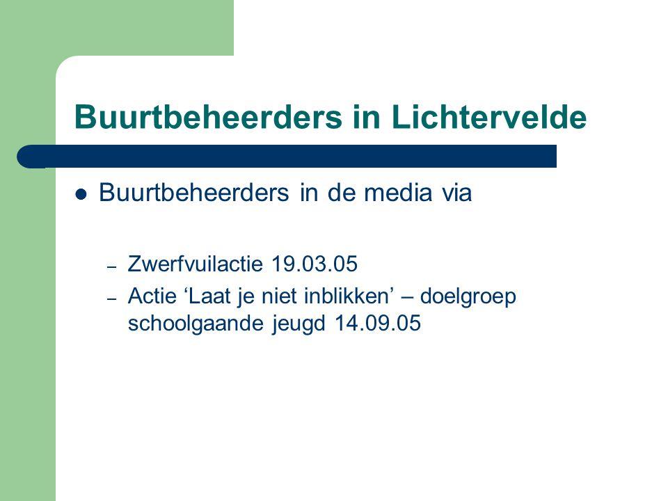 Buurtbeheerders in Lichtervelde  Buurtbeheerders in de media via – Zwerfvuilactie 19.03.05 – Actie 'Laat je niet inblikken' – doelgroep schoolgaande