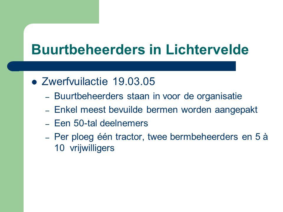 Buurtbeheerders in Lichtervelde  Zwerfvuilactie 19.03.05 – Buurtbeheerders staan in voor de organisatie – Enkel meest bevuilde bermen worden aangepak