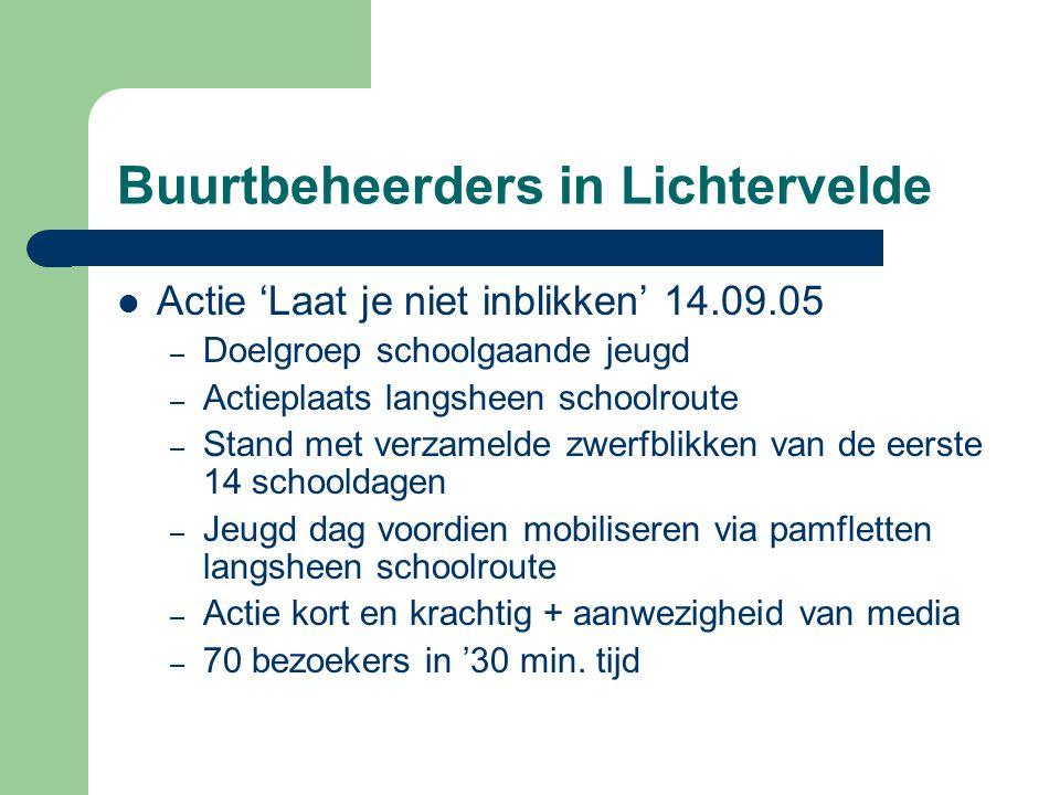 Buurtbeheerders in Lichtervelde  Actie 'Laat je niet inblikken' 14.09.05 – Doelgroep schoolgaande jeugd – Actieplaats langsheen schoolroute – Stand m