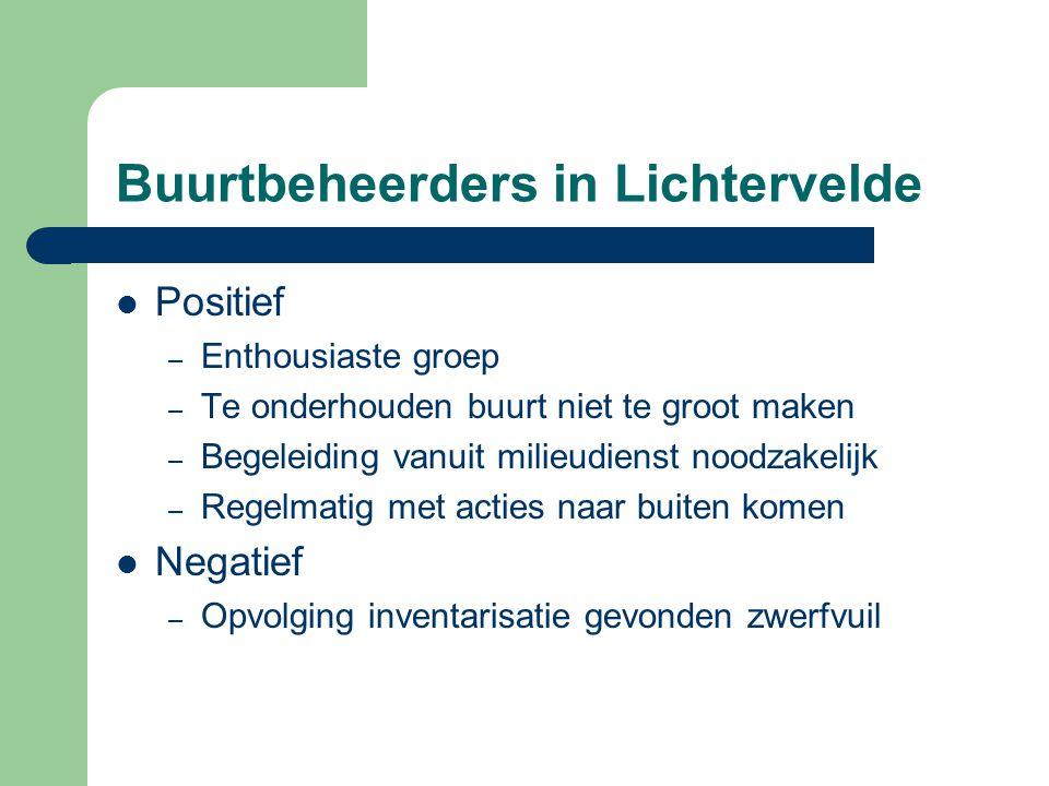 Buurtbeheerders in Lichtervelde  Positief – Enthousiaste groep – Te onderhouden buurt niet te groot maken – Begeleiding vanuit milieudienst noodzakel
