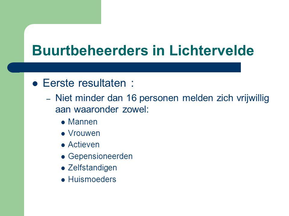 Buurtbeheerders in Lichtervelde  Eerste resultaten : – Niet minder dan 16 personen melden zich vrijwillig aan waaronder zowel:  Mannen  Vrouwen  A