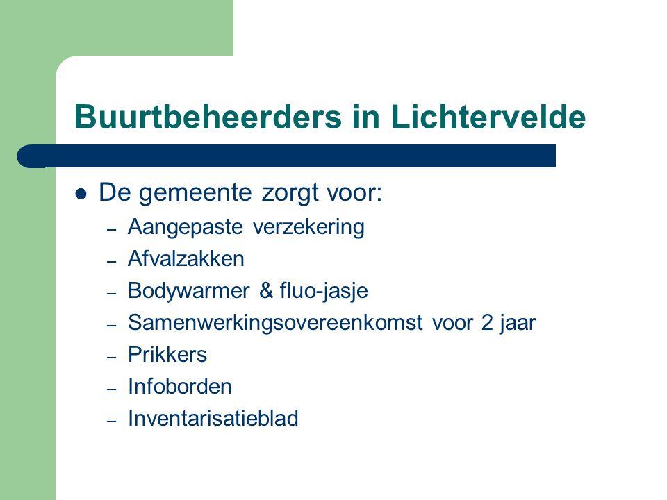 Buurtbeheerders in Lichtervelde  De gemeente zorgt voor: – Aangepaste verzekering – Afvalzakken – Bodywarmer & fluo-jasje – Samenwerkingsovereenkomst