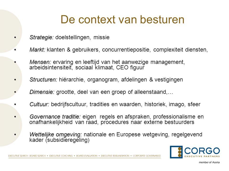 De context van besturen •Strategie: •Strategie: doelstellingen, missie •Markt: •Markt: klanten & gebruikers, concurrentiepositie, complexiteit dienste