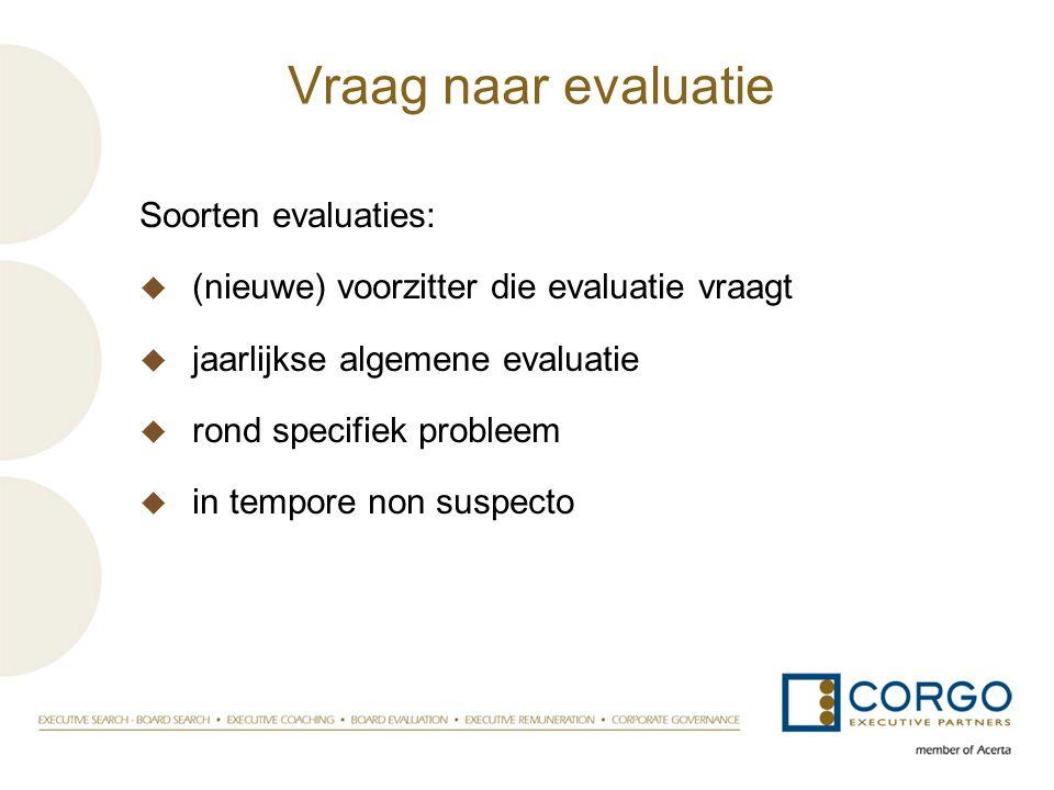 Vraag naar evaluatie Soorten evaluaties:  (nieuwe) voorzitter die evaluatie vraagt  jaarlijkse algemene evaluatie  rond specifiek probleem  in tem