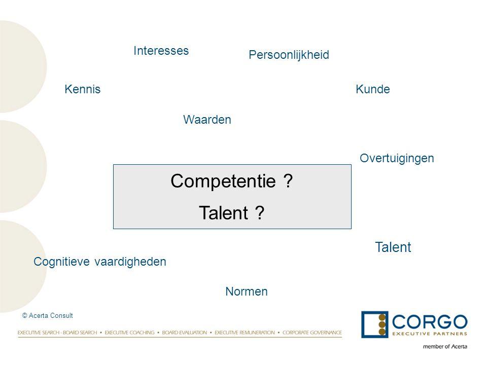 Competentie ? Talent ? Overtuigingen Waarden Cognitieve vaardigheden Interesses Persoonlijkheid Talent KennisKunde Normen © Acerta Consult