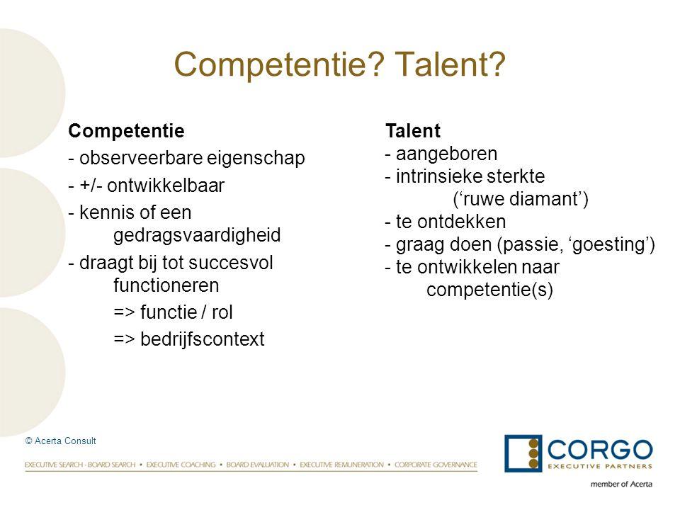Competentie - observeerbare eigenschap - +/- ontwikkelbaar - kennis of een gedragsvaardigheid - draagt bij tot succesvol functioneren => functie / rol