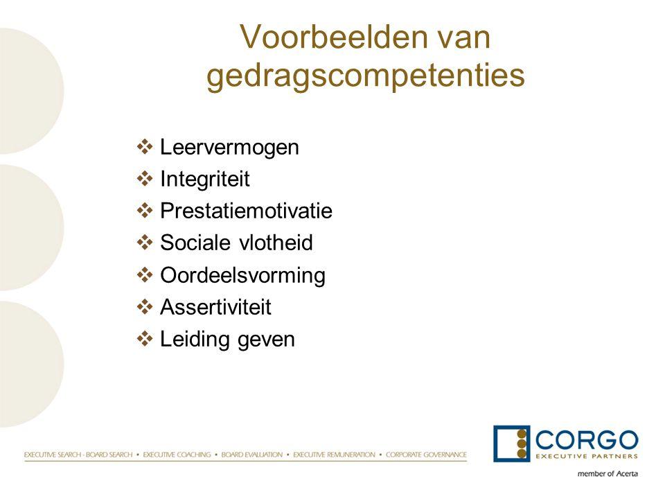 Voorbeelden van gedragscompetenties  Leervermogen  Integriteit  Prestatiemotivatie  Sociale vlotheid  Oordeelsvorming  Assertiviteit  Leiding g