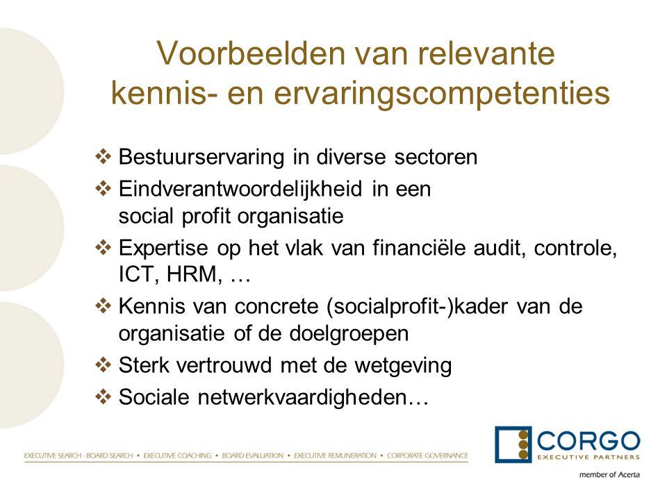 Voorbeelden van relevante kennis- en ervaringscompetenties  Bestuurservaring in diverse sectoren  Eindverantwoordelijkheid in een social profit orga