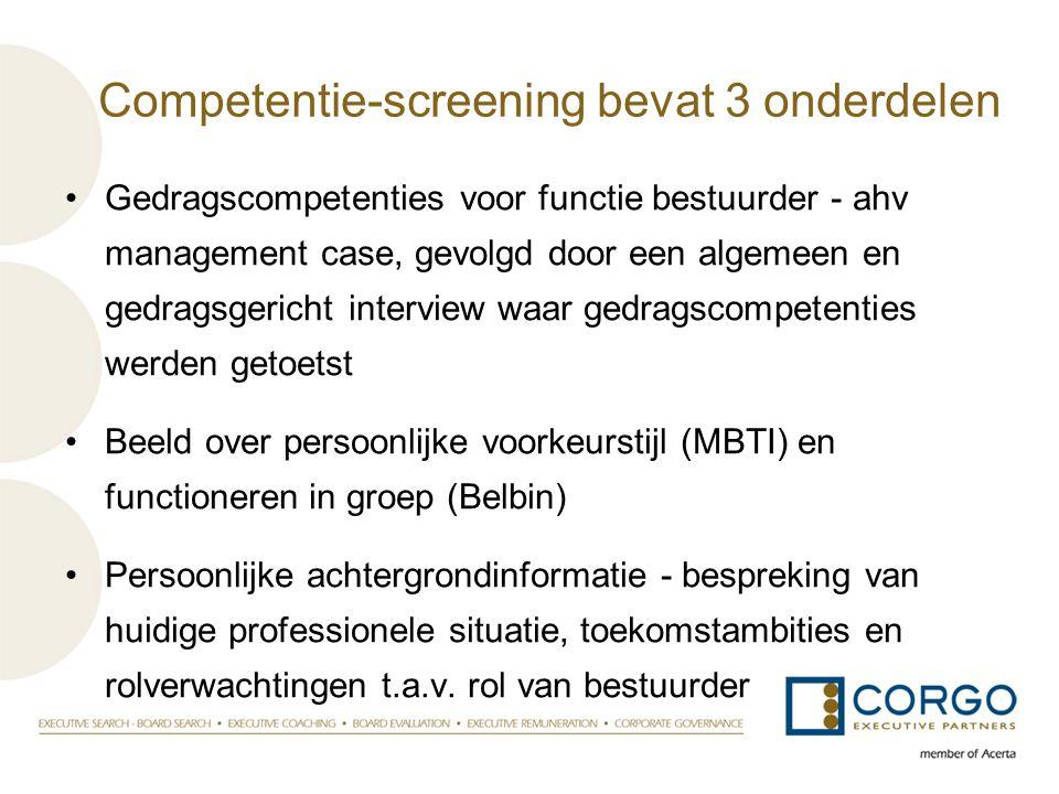 Competentie-screening bevat 3 onderdelen •Gedragscompetenties voor functie bestuurder - ahv management case, gevolgd door een algemeen en gedragsgeric