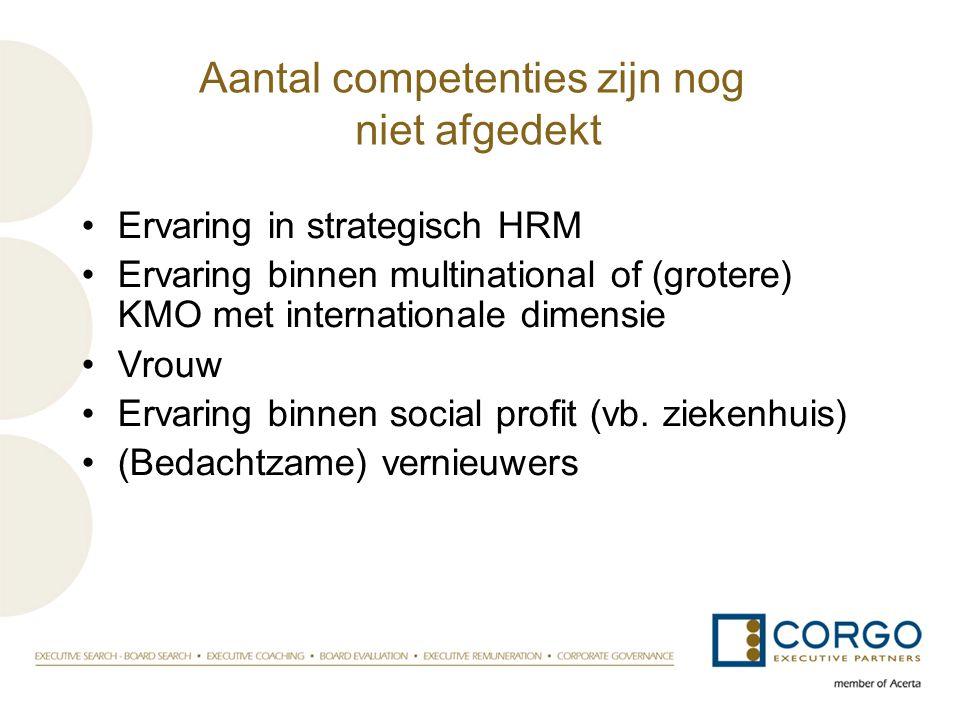 Aantal competenties zijn nog niet afgedekt •Ervaring in strategisch HRM •Ervaring binnen multinational of (grotere) KMO met internationale dimensie •V