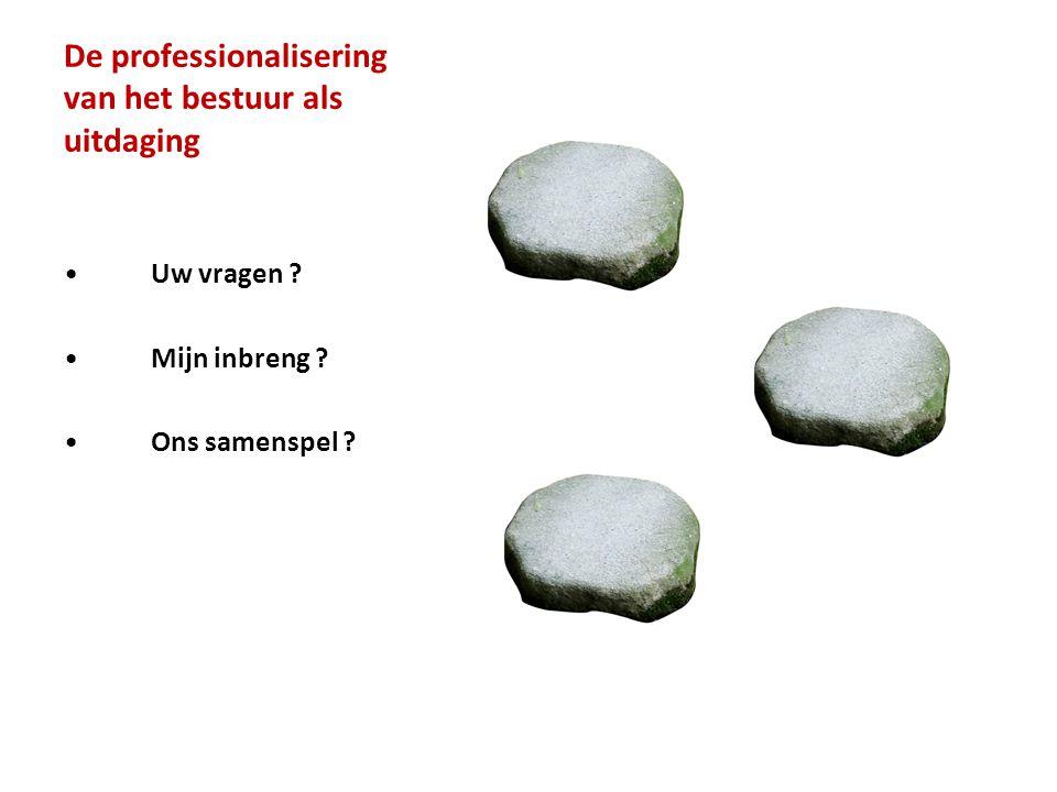 De professionalisering van het bestuur als uitdaging • Uw vragen ? • Mijn inbreng ? • Ons samenspel ?