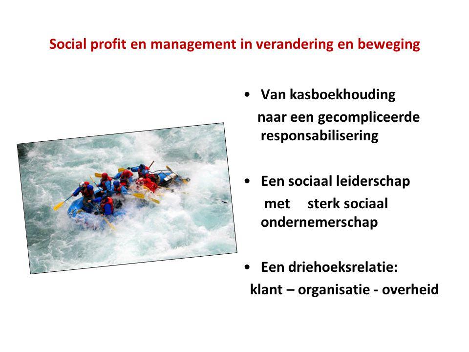 Social profit en management in verandering en beweging •Van kasboekhouding naar een gecompliceerde responsabilisering •Een sociaal leiderschap met sterk sociaal ondernemerschap •Een driehoeksrelatie: klant – organisatie - overheid