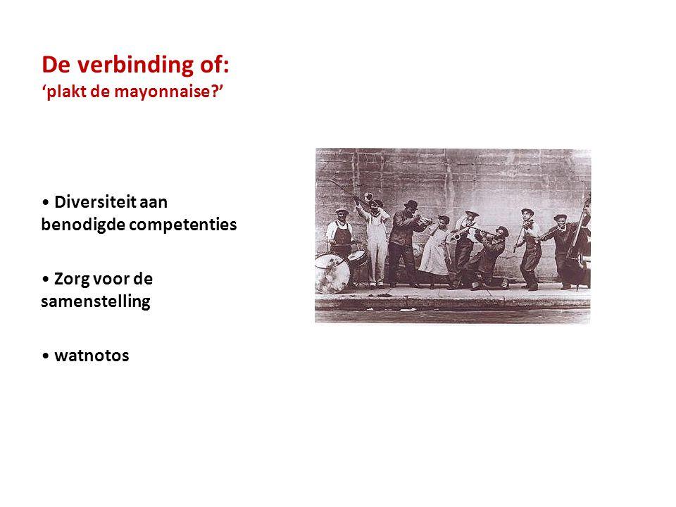 De verbinding of: 'plakt de mayonnaise?' • Diversiteit aan benodigde competenties • Zorg voor de samenstelling • watnotos