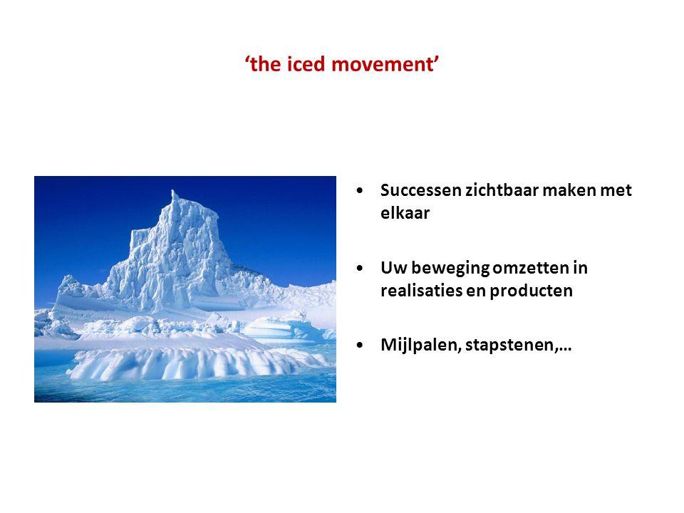 'the iced movement' •Successen zichtbaar maken met elkaar •Uw beweging omzetten in realisaties en producten •Mijlpalen, stapstenen,…