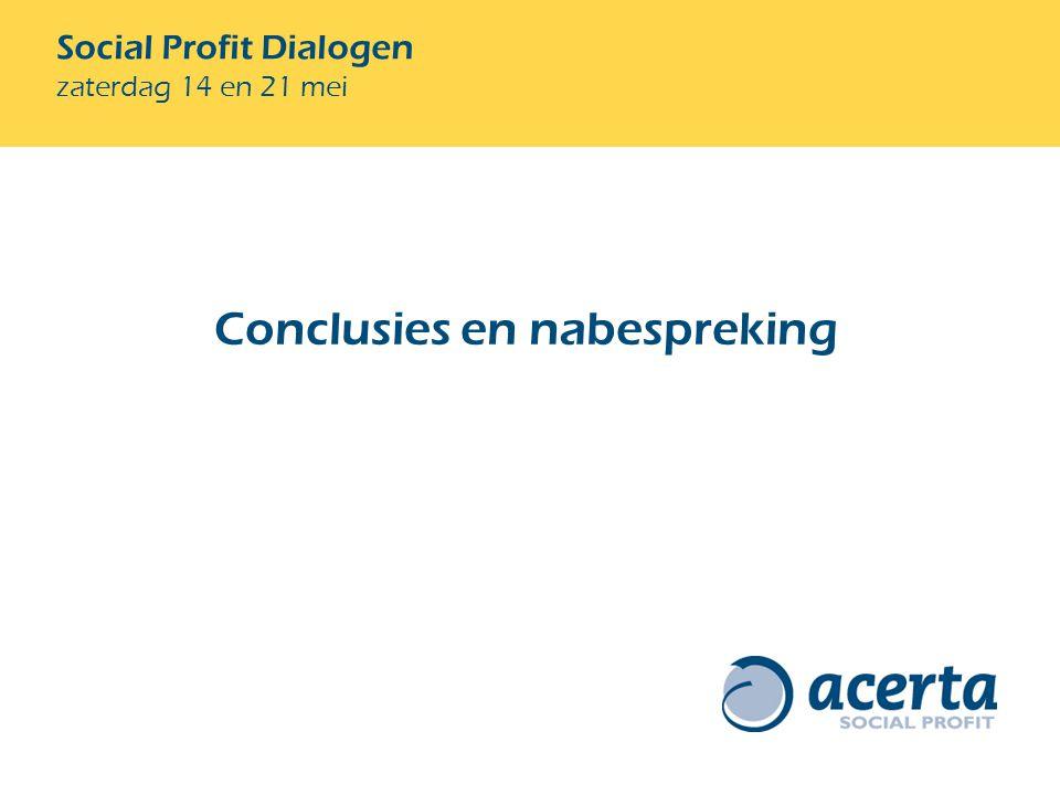 Social Profit Dialogen zaterdag 14 en 21 mei Conclusies en nabespreking