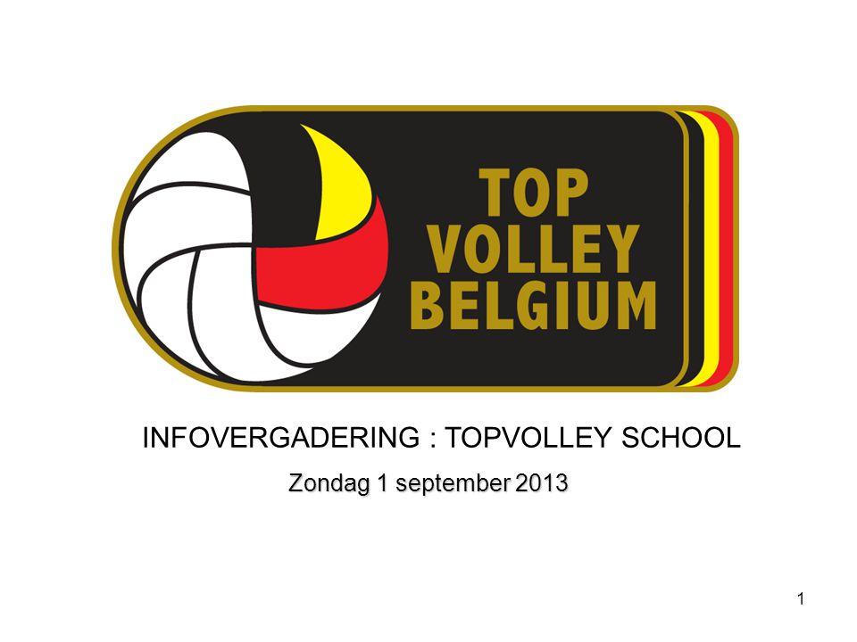 1 INFOVERGADERING : TOPVOLLEY SCHOOL Zondag 1 september 2013