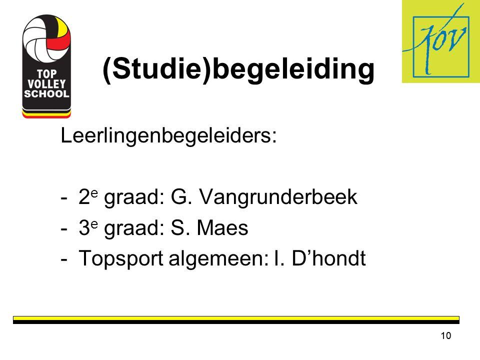 10 (Studie)begeleiding Leerlingenbegeleiders: -2 e graad: G. Vangrunderbeek -3 e graad: S. Maes -Topsport algemeen: I. D'hondt 10