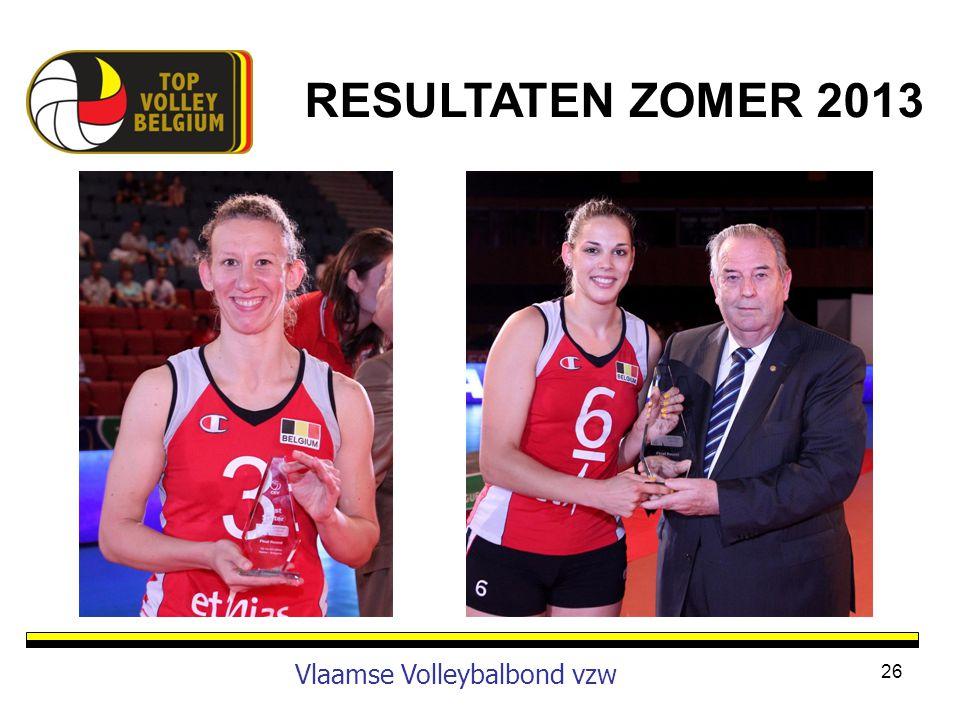 26 Vlaamse Volleybalbond vzw RESULTATEN ZOMER 2013