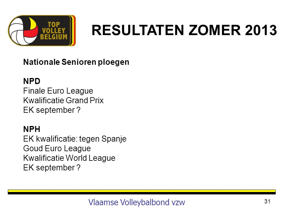 31 Vlaamse Volleybalbond vzw Nationale Senioren ploegen NPD Finale Euro League Kwalificatie Grand Prix EK september ? NPH EK kwalificatie: tegen Spanj