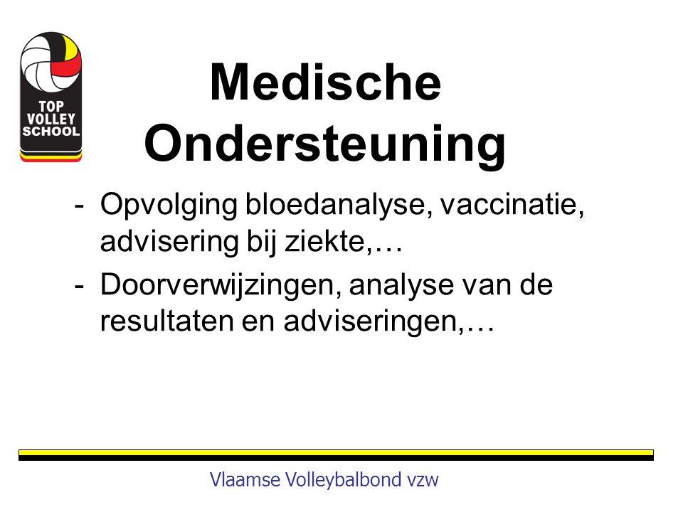 -Opvolging bloedanalyse, vaccinatie, advisering bij ziekte,… -Doorverwijzingen, analyse van de resultaten en adviseringen,… Vlaamse Volleybalbond vzw