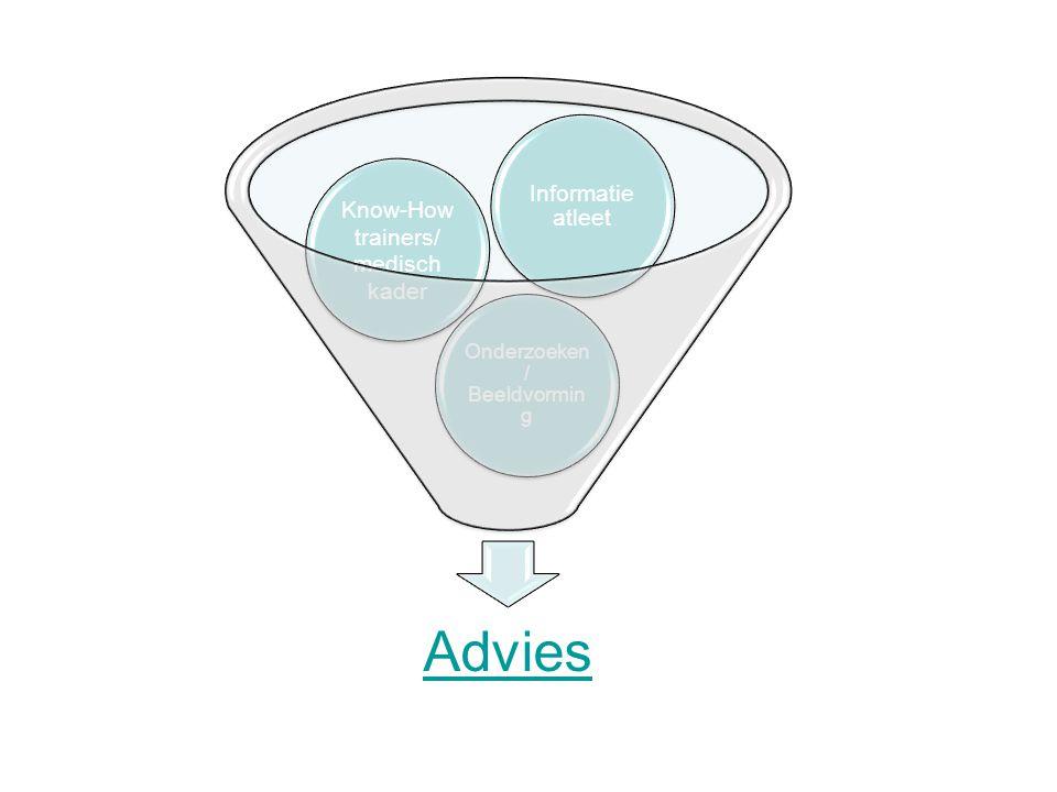 Advies Onderzoeken / Beeldvormin g Know-How trainers/ medisch kader Informatie atleet