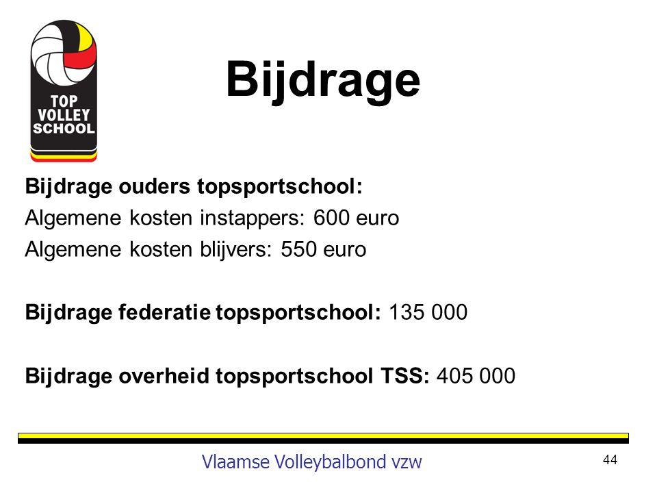 Bijdrage ouders topsportschool: Algemene kosten instappers: 600 euro Algemene kosten blijvers: 550 euro Bijdrage federatie topsportschool: 135 000 Bij