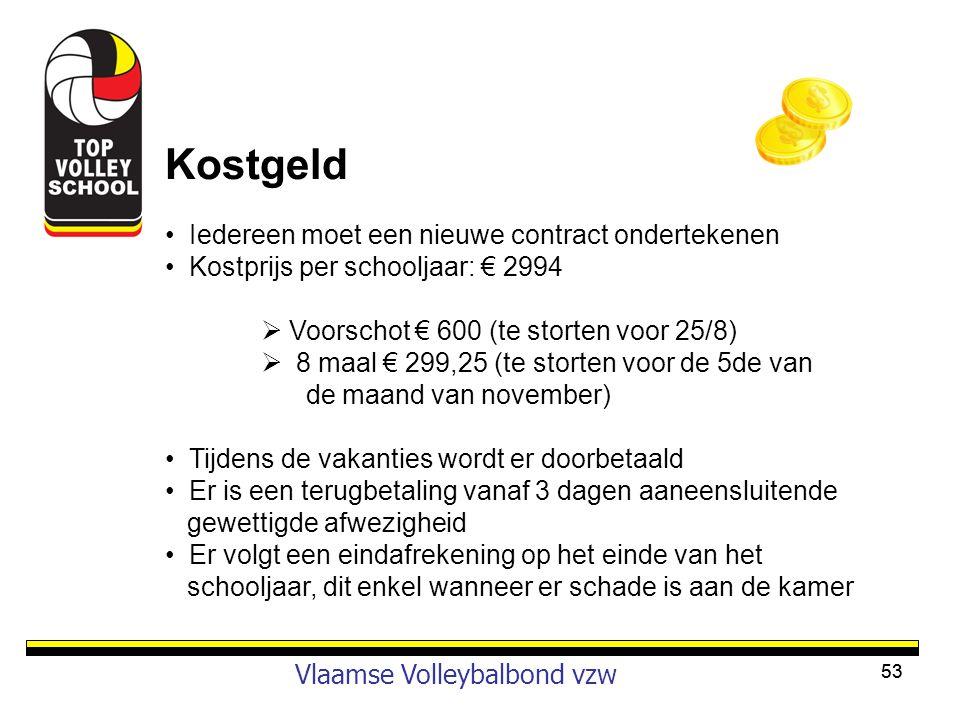 53 Vlaamse Volleybalbond vzw Kostgeld • Iedereen moet een nieuwe contract ondertekenen • Kostprijs per schooljaar: € 2994  Voorschot € 600 (te storte