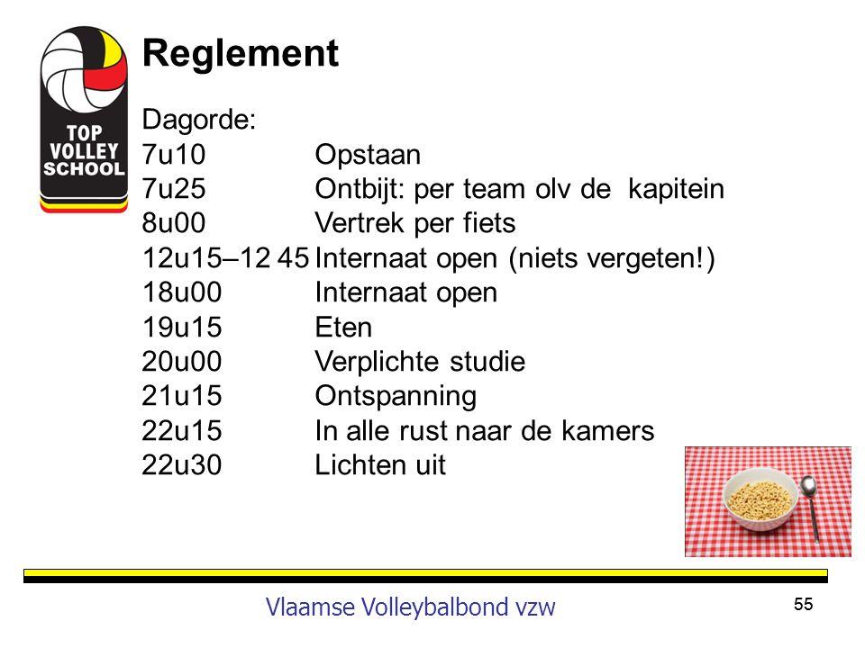 55 Vlaamse Volleybalbond vzw Reglement Dagorde: 7u10Opstaan 7u25Ontbijt: per team olv de kapitein 8u00Vertrek per fiets 12u15–12 45Internaat open (nie