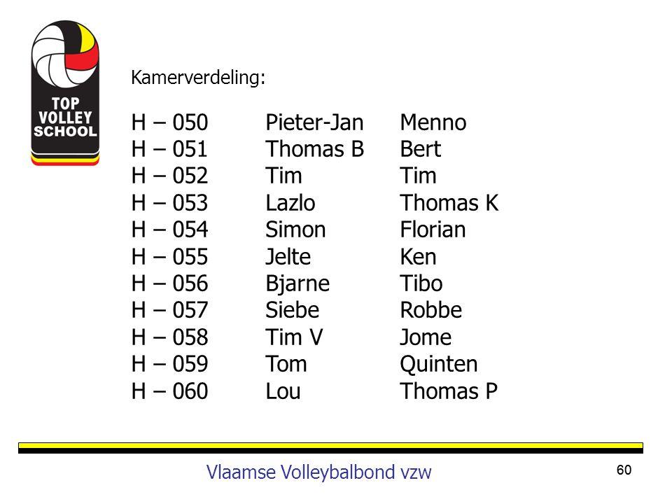 60 Vlaamse Volleybalbond vzw Kamerverdeling: H – 050Pieter-JanMenno H – 051Thomas BBert H – 052TimTim H – 053LazloThomas K H – 054SimonFlorian H – 055